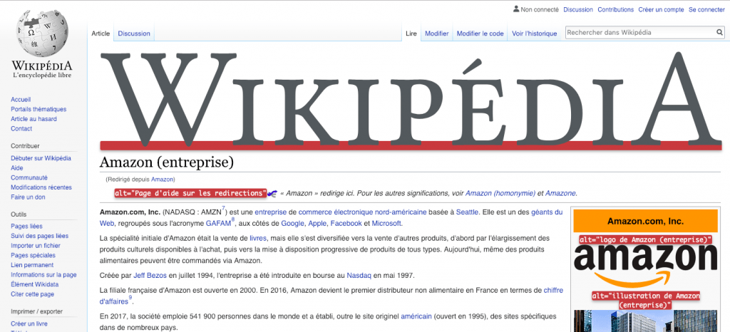"Interface du menu ""Display Alt Attributes"" de l'extension Web Developer sur la page Wikipedia de Amazon"