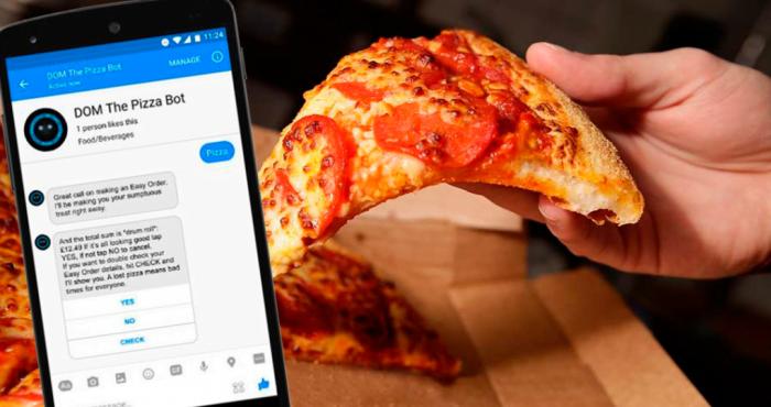 DOM the pizza bot, l'intelligence artificielle de Domino's Pizza qui vous permet de commander vos pizzas directement sur Facebook Messenger