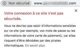 Alerte connexion non sécurisée pour les site en HTTP sur Google Chrome