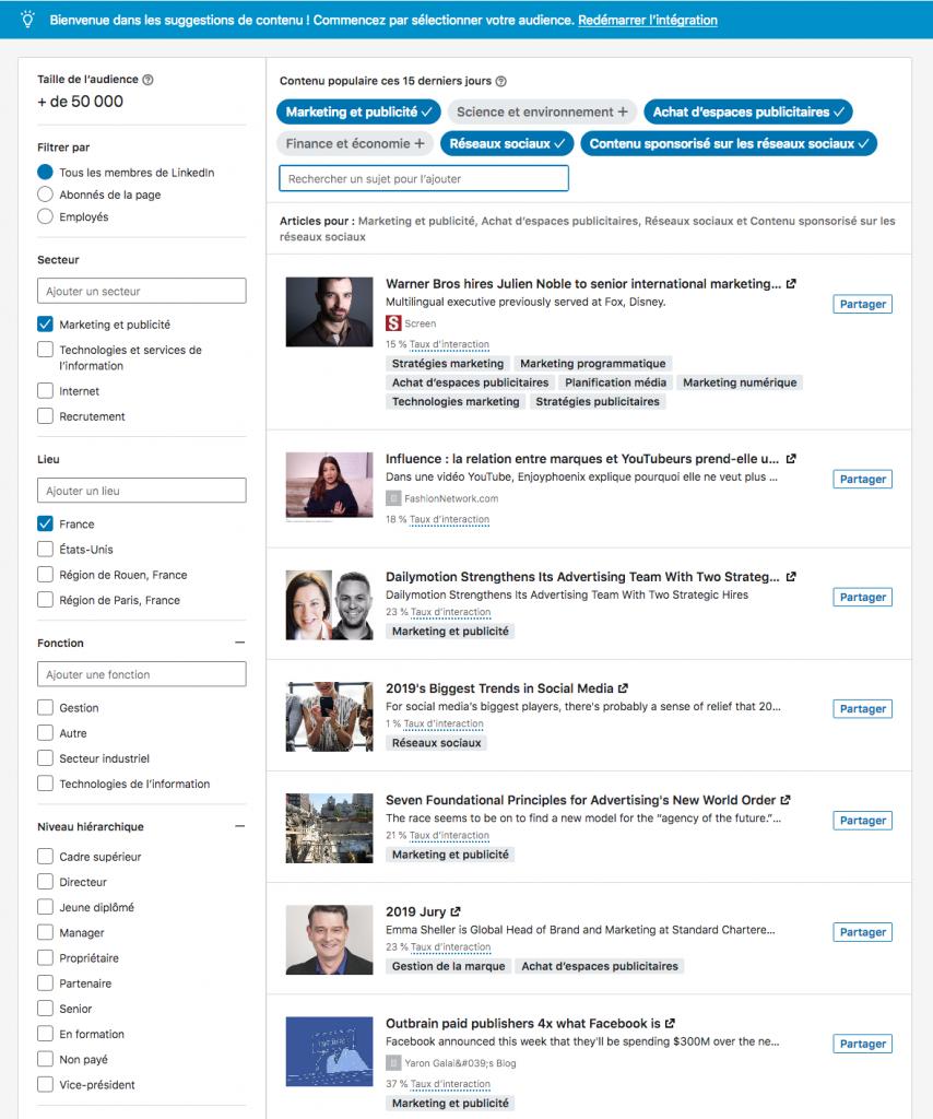Nouveauté LinkedIn : les suggestions de contenu