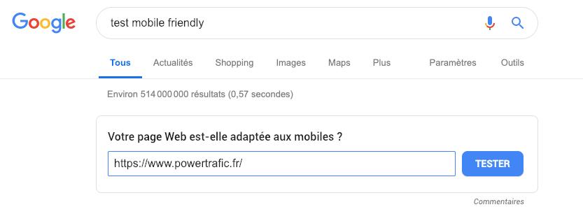 """Étape 2 : insérer l'URL du site pour le """"test mobile friendly"""""""