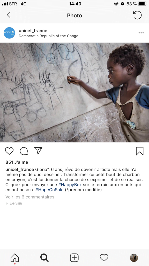 L'UNICEF met en place une opération Instagram Shopping