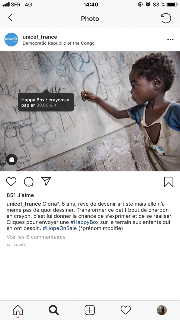 Indicateur de la Happy Box sur le compte Instagram de l'UNICEF