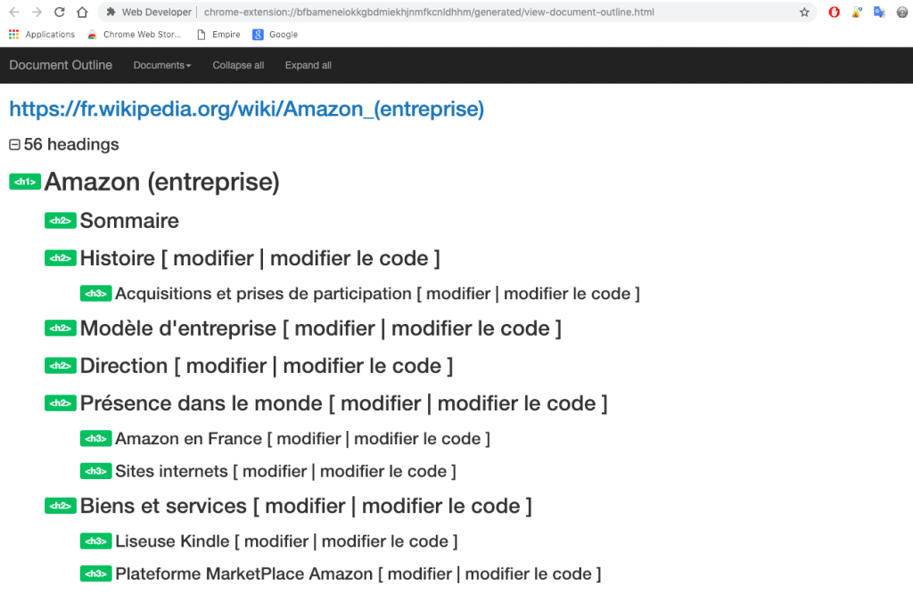 "Interface de l'action ""View Document Outline"" de l'extension Web developer"