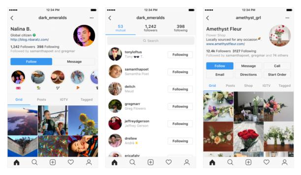 Aperçu du visuel de la nouvelle interface d'Instagram