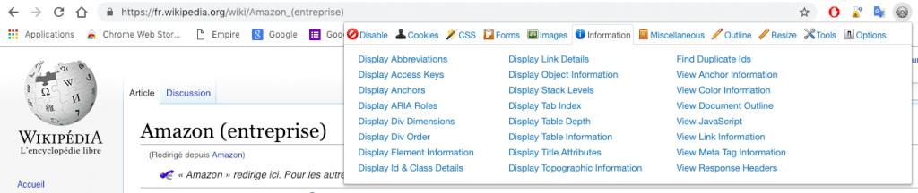 Interface du menu de l'extension Google Chrome Web Developer