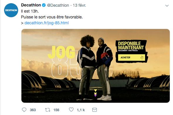 Communication sur Twitter le lancement du jogging réédité