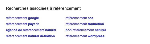 """Exemple de recherches associées sur le mot-clé """"référencement"""""""