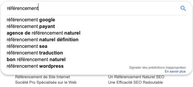 """Exemple de suggestion de recherche sur le mot-clé """"référencement"""""""