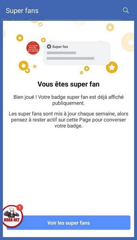 Attribution du badge super fan sur Facebook