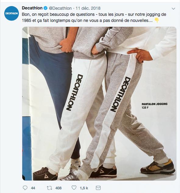 Twitter : communication de décembre sur la réédition du jogging