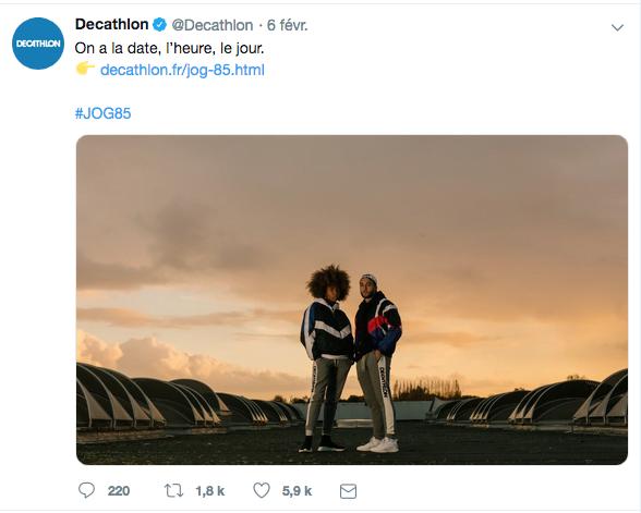 Twitter : communication de février sur la réédition du jogging