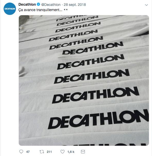 Twitter : communication de septembre sur la réédition du jogging
