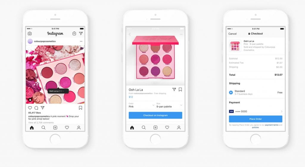 Instagram shopping : interface avec le bouton Checkout on Instagram