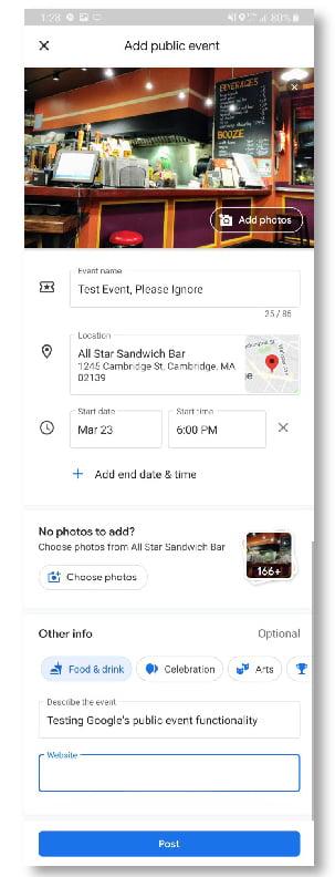 Créer des événements sur Google Maps !