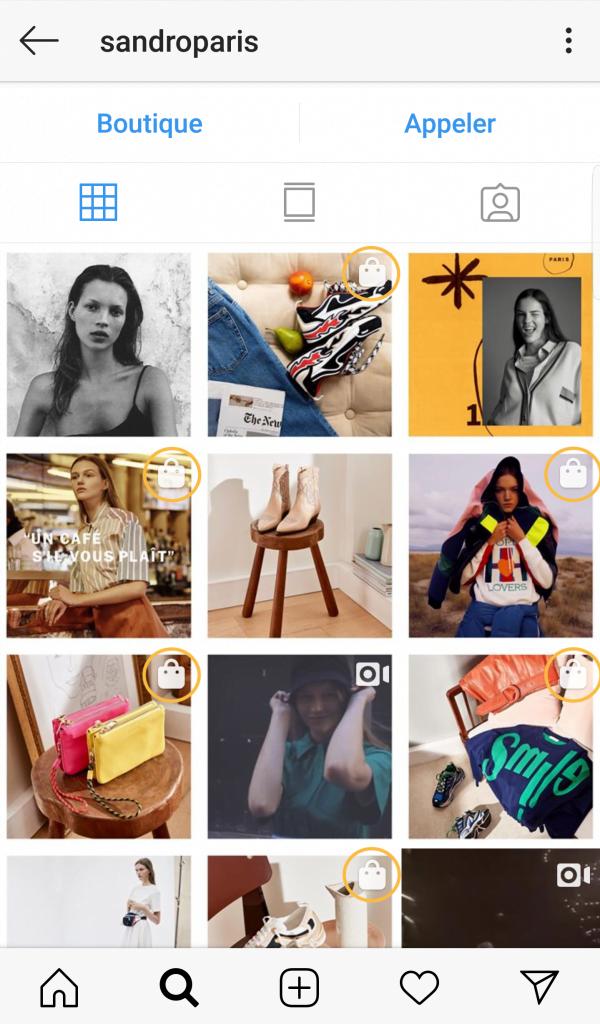 La fonction Instagram Shopping dans le fil d'actualité de Sandro