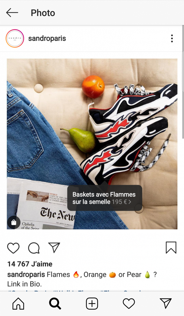 La fonction Instagram Shopping sur une photo