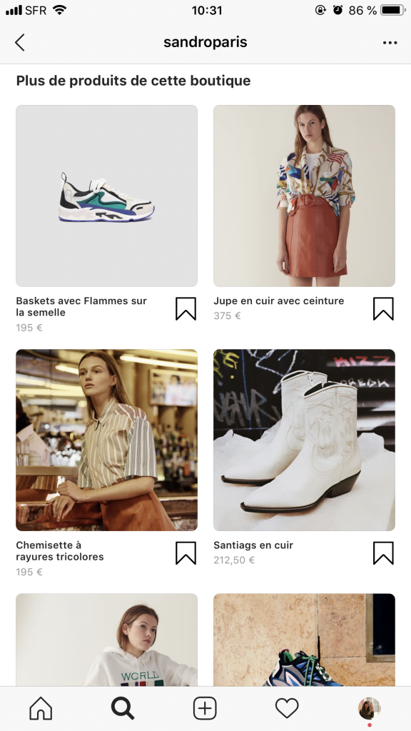 Instagram shopping : l'interface de la fiche produit