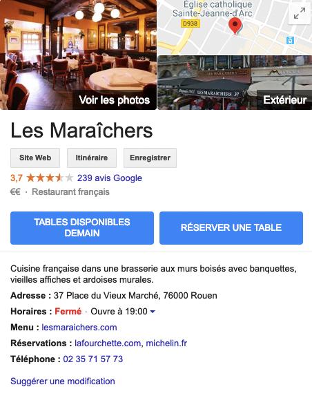 Page d'un restaurant sur Google