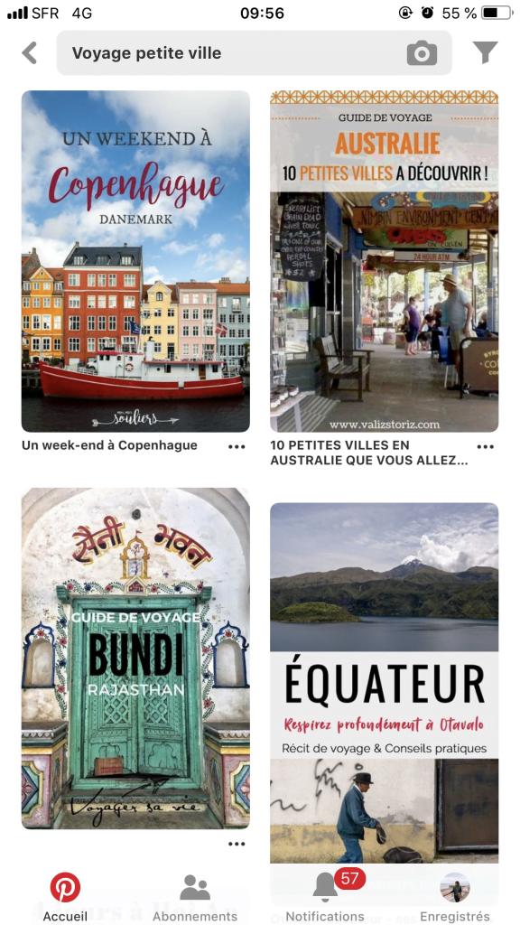 Les destination de petites villes sont beaucoup recherchées sur Pinterest