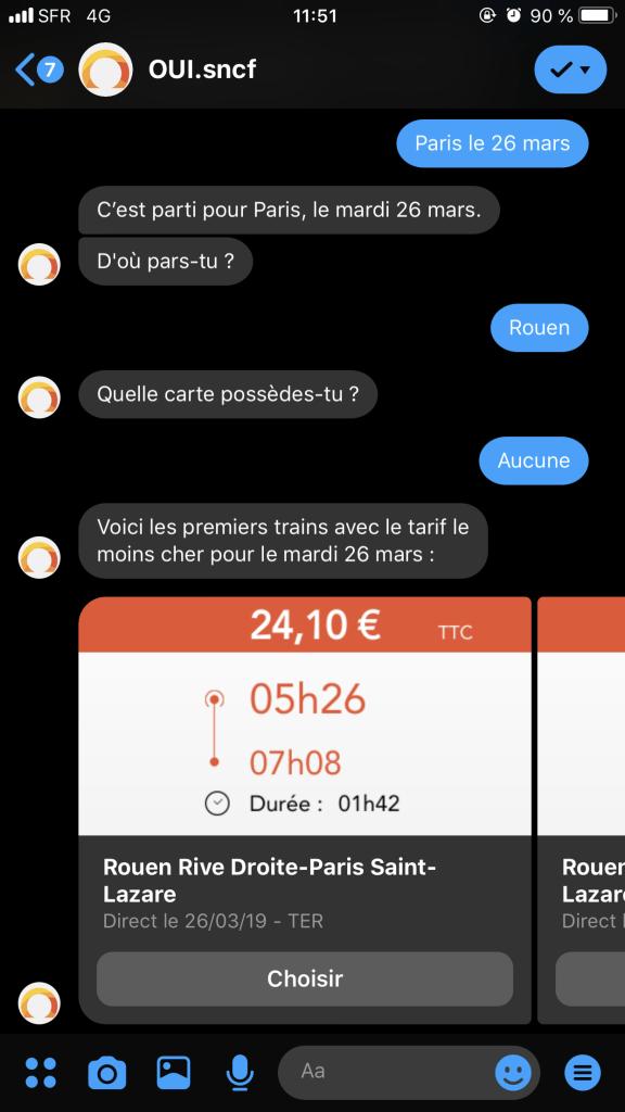Facebook Messenger offre la possibilité de réserver ses billet SNCF sur l'application