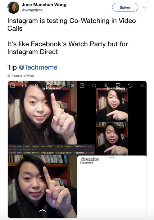 Jane Manchun Wong nous parle de la nouvelle fonctionnalité Instagram : Watch Party