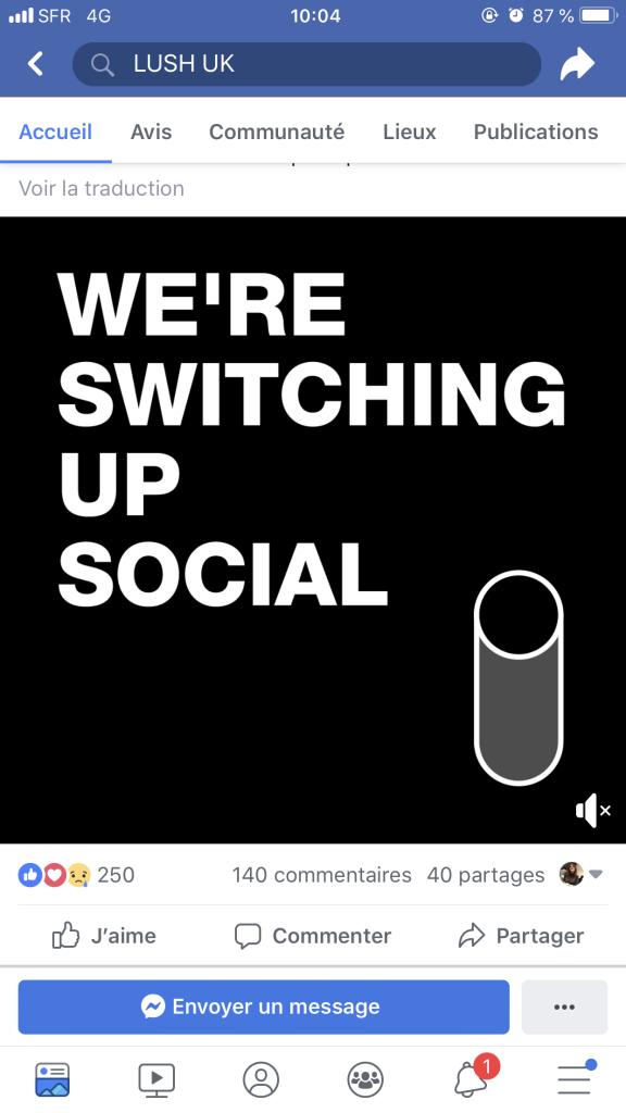 Annonce de Lush UK publiée sur Facebook