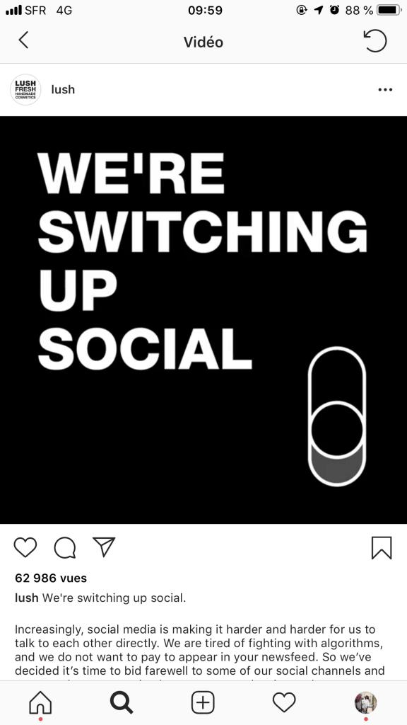 Lush UK annonce qu'il quitte les réseaux sociaux sur instagram