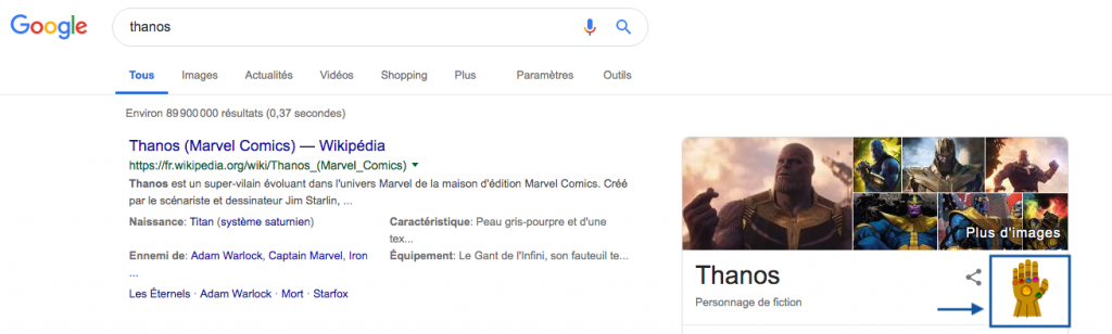 google estaer egg thanos
