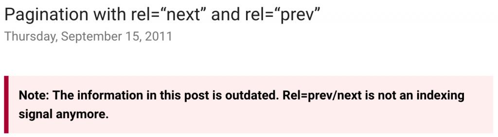 """Article sur la pagination avec les attributs rel=""""next"""" et rel=""""prev"""" du blog des Webmasters de Google"""
