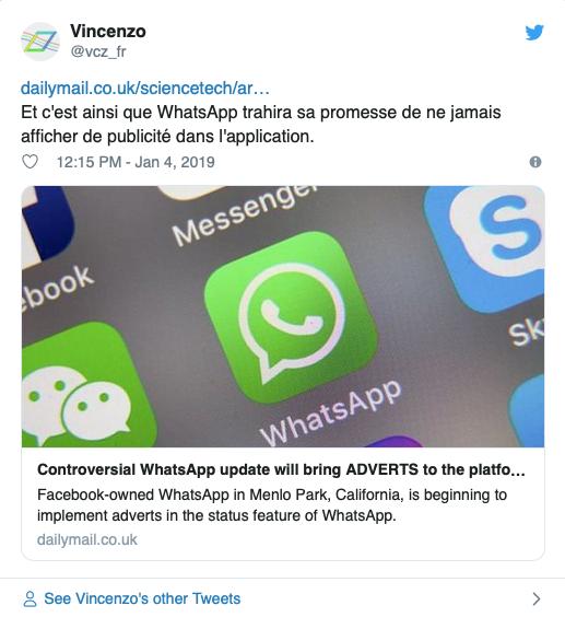 Les utilisateurs WhatsApp sont mécontent et s'expriment sur Twitter