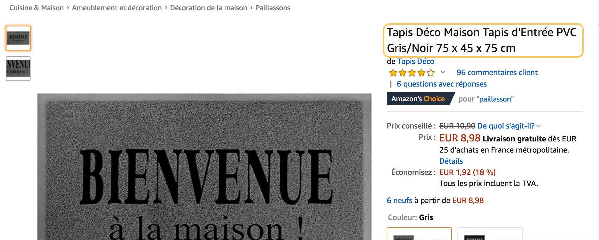 Page Amazon avec un titre de produit