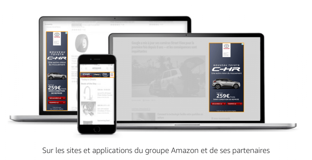 Exemple d'emplacements display d'Amazon Advertising