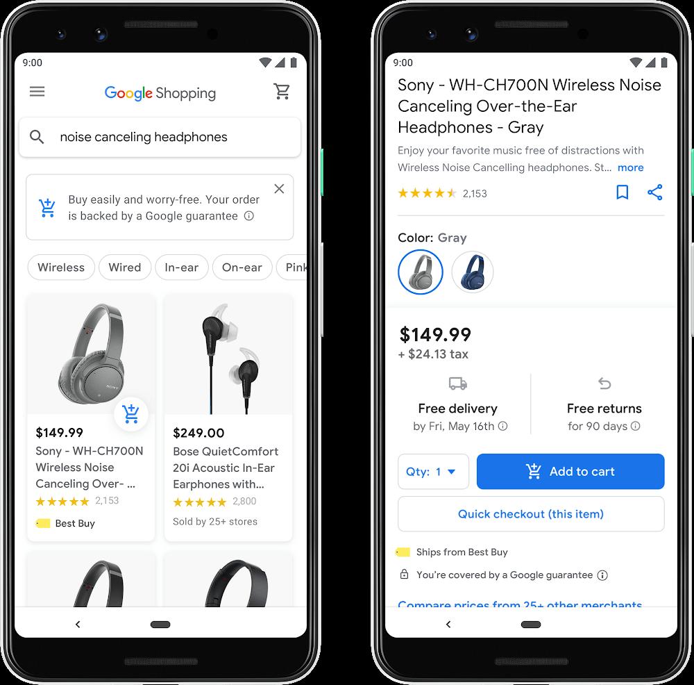 Interface des nouveautés de Google Shopping