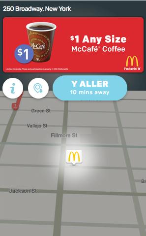 Écran avec la solution PIN de Waze Ads