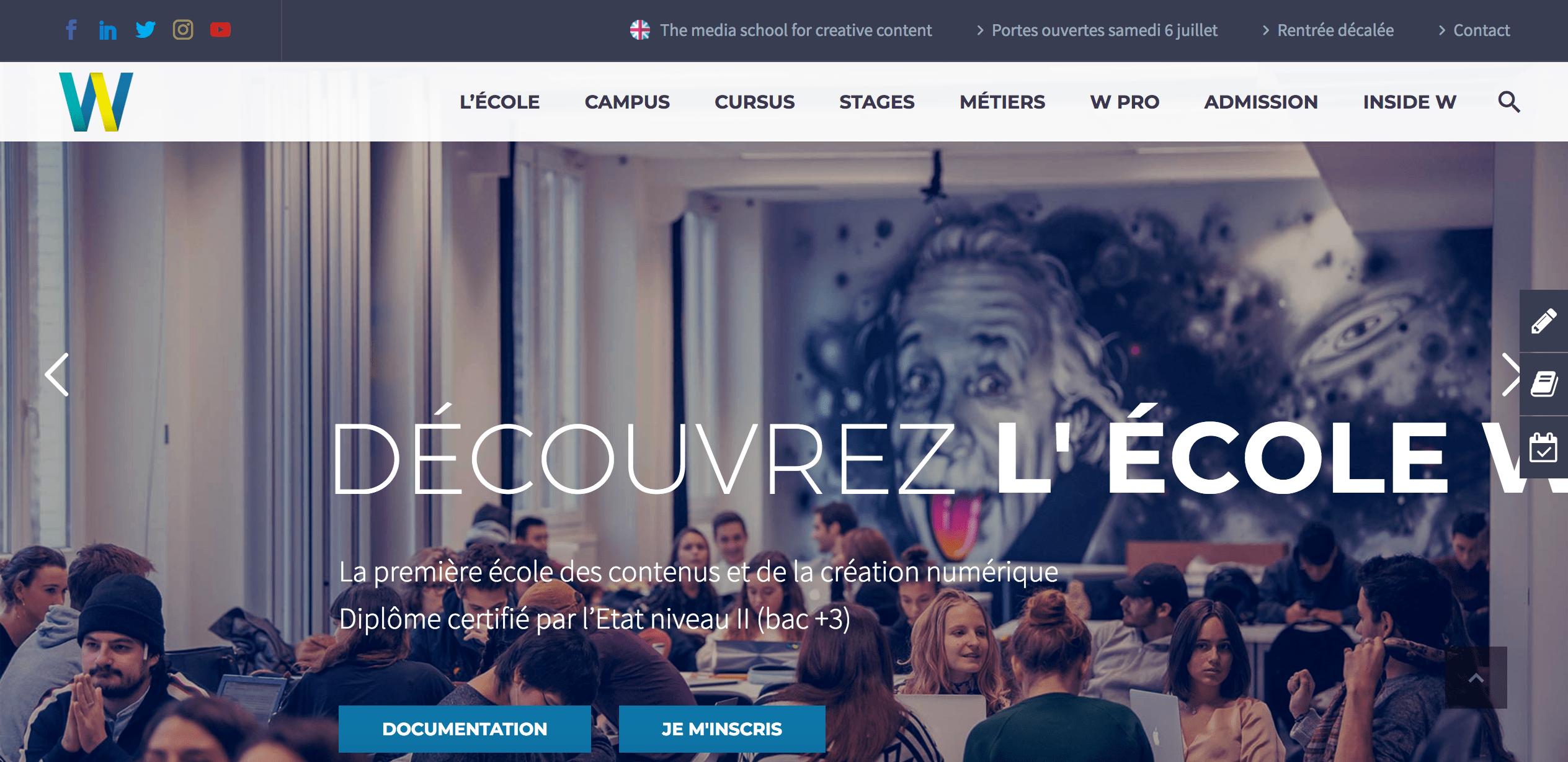 Page d'accueil du site de l'École W