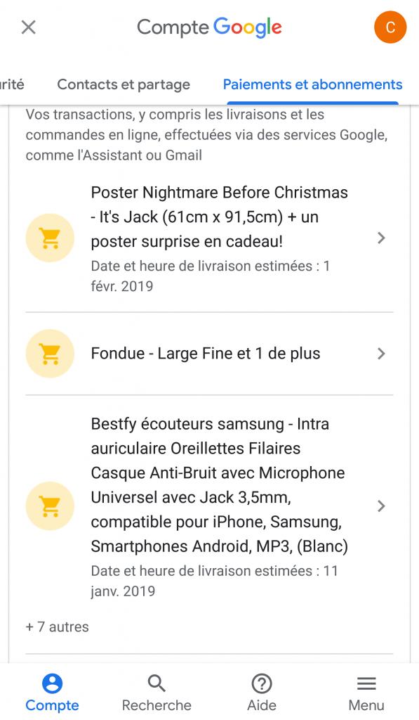 Liste des achats sur Gmail