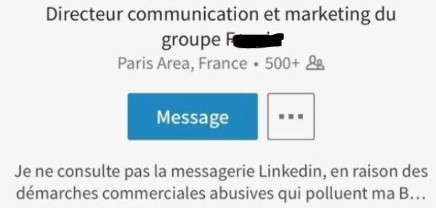 Profil LinkedIn contre les démarchages