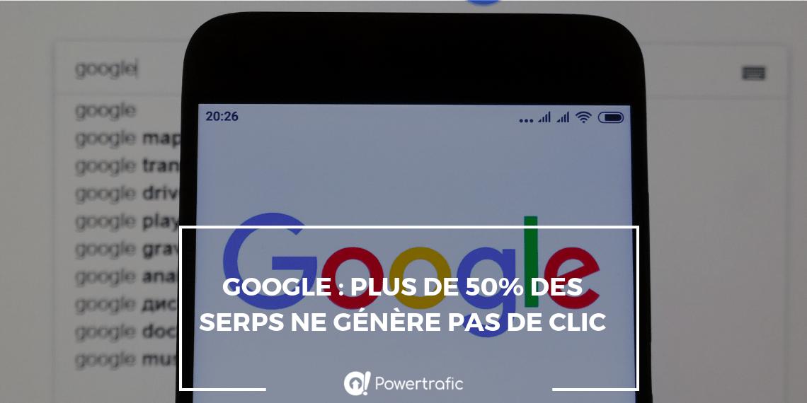 Google : plus de 50% des SERPs ne génère pas de clic