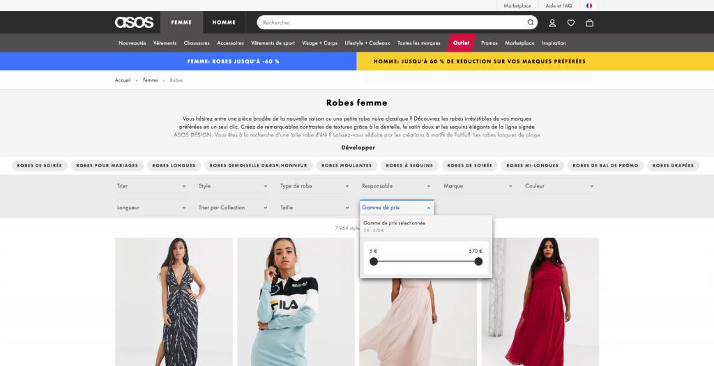 site e-commerce asos navigation à facettes
