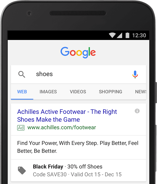 Extension de promotion Google Ads Black Friday