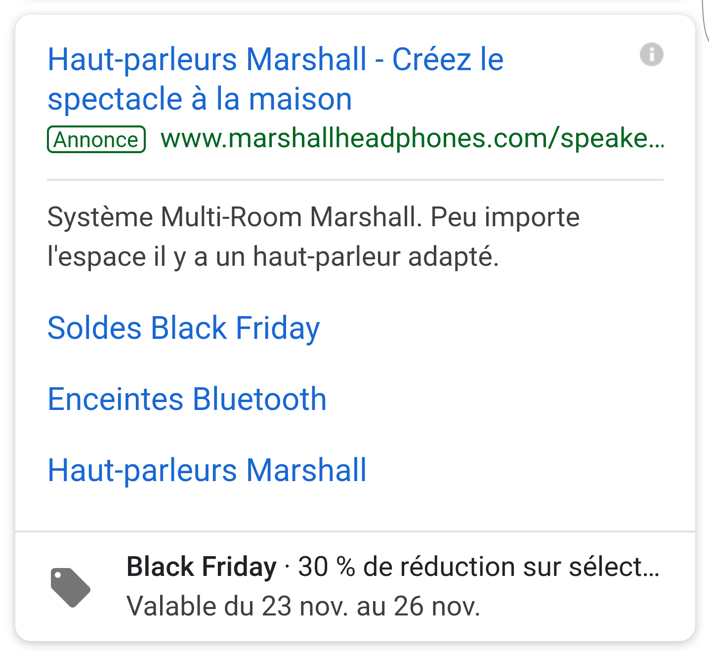 Exemple d'extension de promotion sur mobile