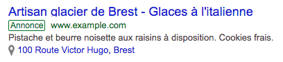 Exemple d'extension de lieu Google Ads