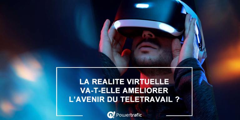 Le télétravail du futur avec un casque de réalité virtuelle sur la tête